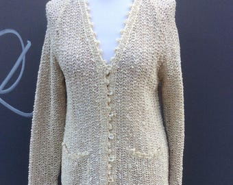 Seventies vintage irish Linen knit cardigan | size 10-12