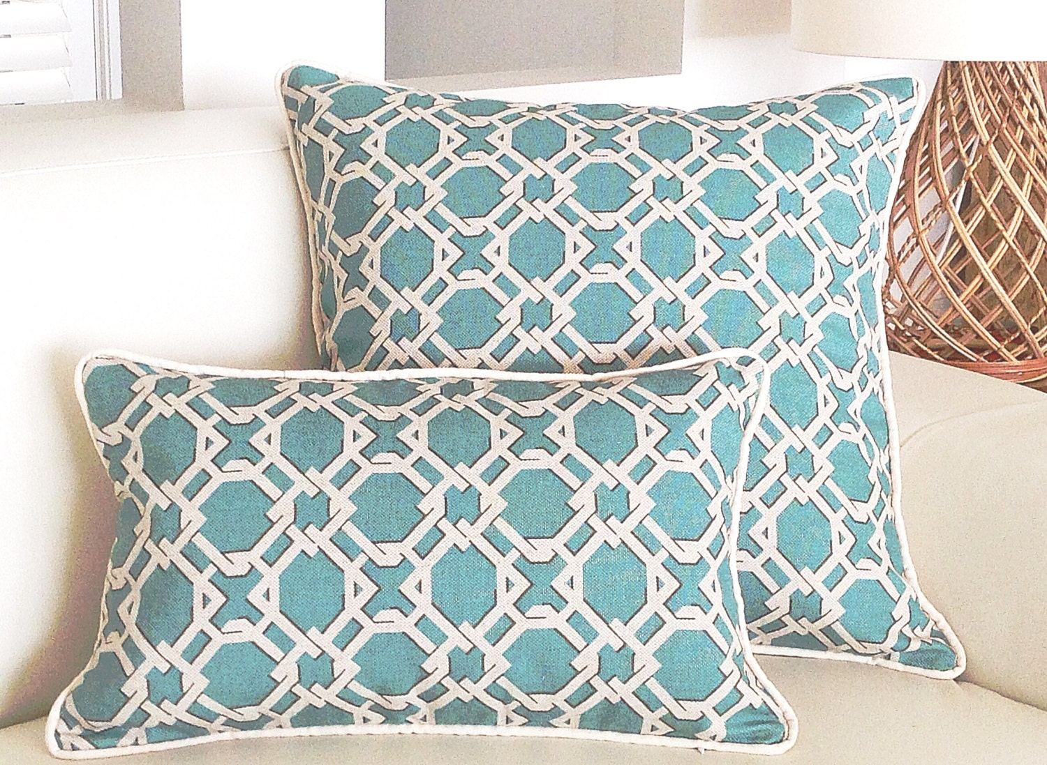 throw for beach decorative spring sofa store pillow with pillows room turquoise living cute buttons themed