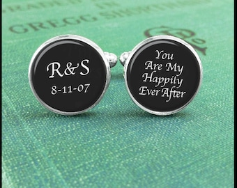 10 Year Anniversary, Monogram Cufflinks, Initial Cufflinks, Customized Monogrammed Cufflinks, Anniversary Gift, Happyily Ever After, For Him