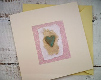 Bespoke, hand made greeting card, Ceramic card/gift. Blank for all occasions, Valentine's Day card