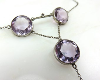 Spring Sale Circa 1920 Amethyst Seed Pearl and Silver Necklace