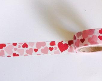 Red Pink HEARTS Washi Tape Roll Valentine Heart Valentines Day Card cards wedding craft planner crafts planner stickers masking sticker