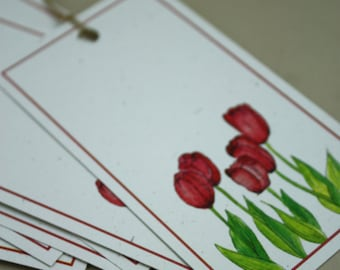 6 Spring Red Tulips Gift Tags with Deep Red Border. Recycled Paper, Set of 6, Jumbo Tags