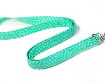 Trendy Fabric Lanyard, Mint Green Lanyard, Geometric Medallion Lanyard, ID Badge Lanyard, Preppy Neck Lanyard, 19 Inch drop