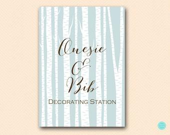 Decorating Station, Woodland Baby Shower ACtivities, Birch Tree, Gender Neutral, Decorate Bibs TLC101