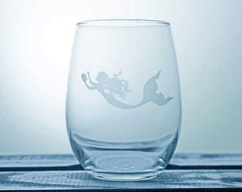 Mermaid Decor - Drinkware - Wine Glass - Underwater Theme - Mystical - Gift Ideas - Gifts for Her - Sea Glasses