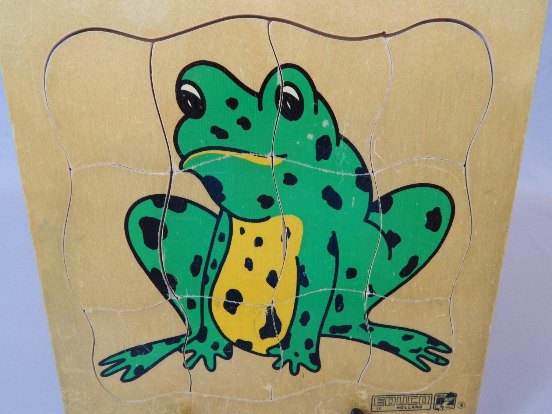 Unusual Vintage Multi-Layer Wood Frog Puzzle Educational
