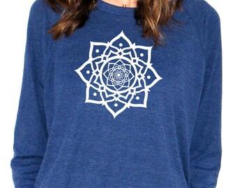 Womens Long Sleeve Sweatshirt - Lotus - American Apparel Raglan Pullover - Small, Medium, Large