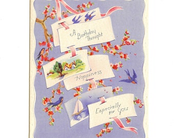Vintage UNUSED BIRTHDAY Card Bluebirds of Happiness Cherry Blossoms 1940's
