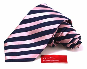 Slim Silk Tie in Stripes of Tickled Pink and Navy