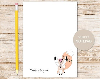 personalized notepad . fox note pad . personalized stationery . stationary . tribal fox, woodland, forest notepad