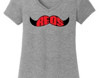 Cincinnati Reds Mustache Ladies T-shirt/Free Shipping