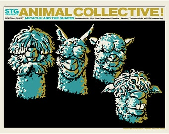 Animal Collective / Micachu & The Shapes, poster by Shawn Wolfe