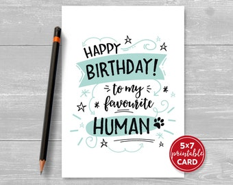 Handmade printable birthday card etsy printable birthday card from the cat or dog happy birthday to my favourite human bookmarktalkfo