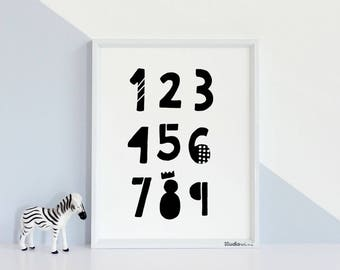 Numbers Poster 50% OFF Printable poster Nursery Poster, 123456789 Poster, Scandinavian Poster, Number print, Instant download, Math poster