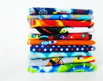 Boys Rocket Cloth Napkins - Space Aliens Kids Napkins - School Lunch Napkins - Childs Cloth Napkin - 5 or 10 - Lunch Box Napkins - 9 x 10