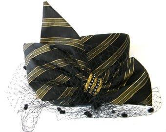 Whittall n Shon Black Derby Hat Metallic Gold Rhinestones Netting Wool 22.5 in