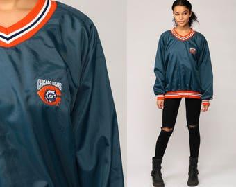Chicago Bears Jacket Pullover Jacket 80s Football NFL Windbreaker Sports 1980s Vintage Retro Blue V Neck Extra Large xl xxl 2xl