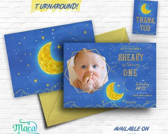 Stars Moon Galaxy Birthday Printable Invitation, Girl Boy Birthday Space Universe Theme Invitation