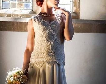 1920's Vintage style, hand Beaded Art Deco Wedding dress