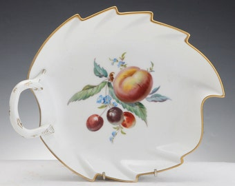 meissen porcelain leaf shaped bowl with painting of fruit