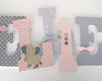 Custom Wood Letters for Girls - Pink and Gray Elephant Theme - Nursery Letter Set