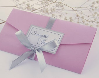 SAMPLE, Classic Wedding Invitation, Pocket Fold Wedding Invitation, Romantic Wedding Invitation, Pink and Grey Wedding Invitation