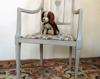 Edwardian Painted Chair with New Tapestry Seat - Painted Carver Chair - Painted Armchair  (stock#6568)