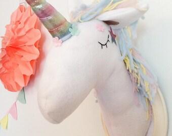 Unicorn Faux Taxidermy - Unicorn Taxidermy -  Unicorn Wall Decor - Animal Wall Mount
