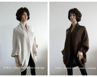 Coat cardigan ivory brown Jacket beige Handmade Batwing Cardigan Knit loose clothes wrap Boho Cocoon coat jacket knit loose cardigan