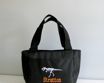 personalized lunch bag, Dinosaur lunch box, boys insulated lunch box, T rex skeleton lunch bag, insulated lunch bag
