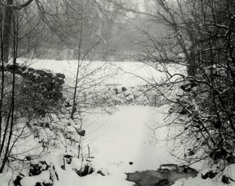 Whitnall Park Dam #2 Black and White photo print 5x7 matted for 8x10