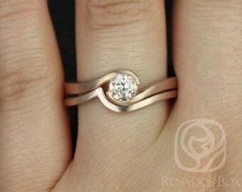 Rosados Box Vadim 5mm Satin Finish14kt Rose Gold Round Morganite Single Twist Wedding Set