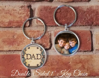 SALE! Double-Sided Dad Keychain - Photo Key Chain - Personalized Key Chain - Gift for Dad-  - Cyber Monday