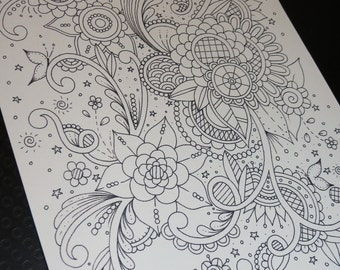 Adult Colouring Page, Doodle, Paisley, Coloring