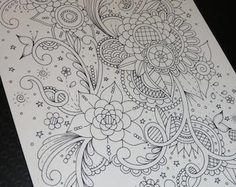 Page à colorier adultes, Doodle, Paisley, coloriage