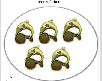 5 Pendant dolphin with socket for 16 mm cabochons