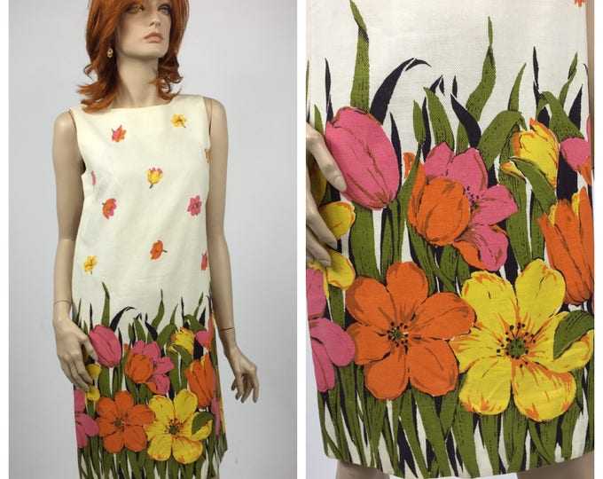 1960's Border Print Shift Dress / Floral Print Cotton Summer Dress / Piqué Cotton Border Print / Pink, Orange and Yellow Floral, Size 6