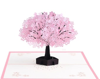 3D Pop Up Spring Cherry Blossoms Greeting Card Birthday New Year Invitation