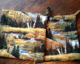 "Trees Woods Evergreen Stream POTHOLDERs 8"" square.  Felted wool inside!"