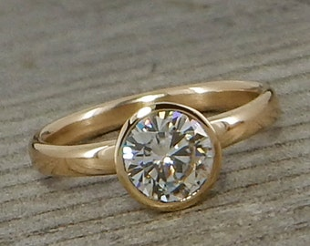 Forever One G-H-I Moissanite Engagement Ring with Hybrid Peekaboo Prong Bezel - Recycled 14k Yellow Gold, Diamond Alternative