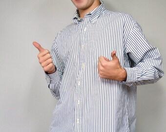 Chemise homme chemise Vintage BCBG Tommy Hilfiger 1980 ' s coton rayé bleu et blanc Oxford col boutonné taille 15 1/2-33
