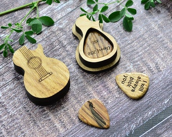 Custom Personalized Wood Guitar Pick Box and 3 Picks, Plectrum Pick Case Personalised Pick Holder Musicians Gift Gifts for Him Guitar Player
