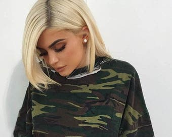 KYLIE JENNER Camo Dress / Get The LOOK /Chic Kylie Camouflage T Shirt Dress /Gold Belt /Ripped Distressed/ Celebrity Look