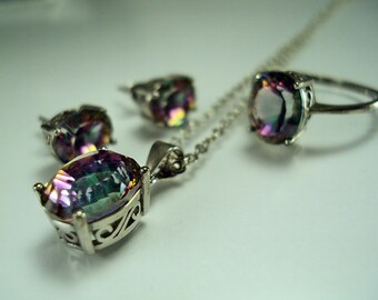 Dynamight Set of Green and Pink Mystic Topaz Separates in Sterling Silver 17.5ctw sz 8
