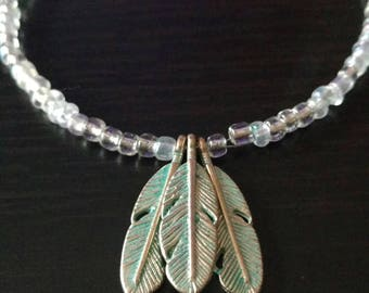 Feather seed bead necklace