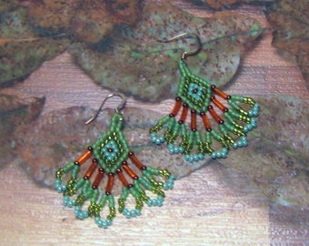 Native American Style, GREEN, BLUE, ORANGE Beaded Earrings - Seed and Bugle Bead Earrings With Fringe - 1-1/2 Inches Long -  Diamond Design