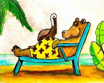 Hippo's Holiday-Whimsical Art Print by SQ Streater-Free Shipping