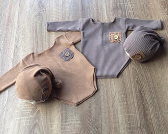 Baby overalls, Photo prop, Newborn romper, Button romper , RTS, Handmade, Body,Newborn set,Newborn hat,Newborn romper