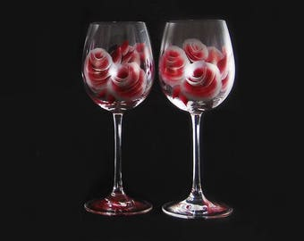 Wedding Anniversary Wine Glass Set 2 Hand-Painted CRYSTAL Personalized Wedding Wine Glasses 25th Anniversary 35th Ruby Anniversary